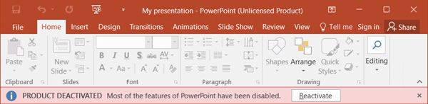 Shows a specific error message about why Office is unlicensed