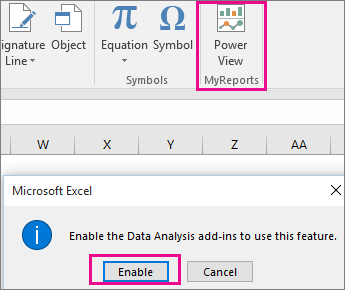 Custom Pivot View button and dialog turning on the add-in in Excel