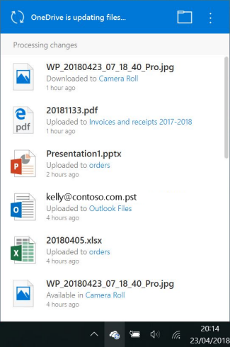 OneDrive processing changes screen