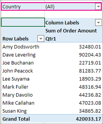 Filters area in the PivotTable