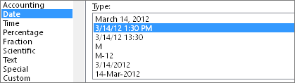 Format Cells dialog, Date command, 3/14/12 1:30 PM type