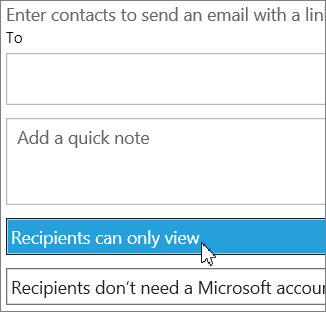 Recipients can only view option in the Invite people dialog