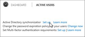 Choose Set up next to Active Directory synchronization
