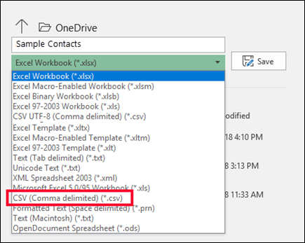 Save your Excel file as a CSV file.