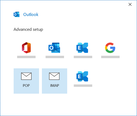 Selecting your account type when manually setting up a mail account in Outlook