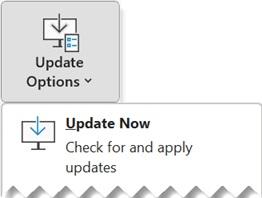 Screenshot of Update options button
