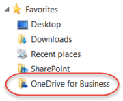 Favorites listing for OneDrive for Business under SP2016