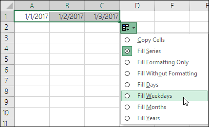 Use the Fill handle to create a list of sequential dates