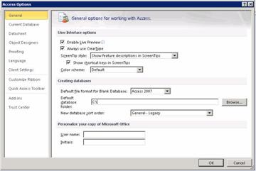 Access Options dialog box displaying the General category  for global setting options