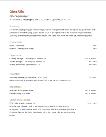 Use a resume template in Word Online - Word