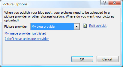 choosing a blog provider from the new blog account window