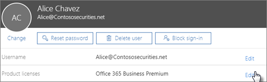 In the user card, choose Edit next to Product licenses.