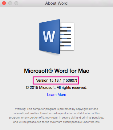 Word 2016 for Mac showing About Word page