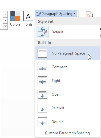 Paragraph Spacing menu