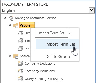 Import term set drop down