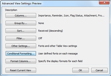 Advanced View Settings dialog box