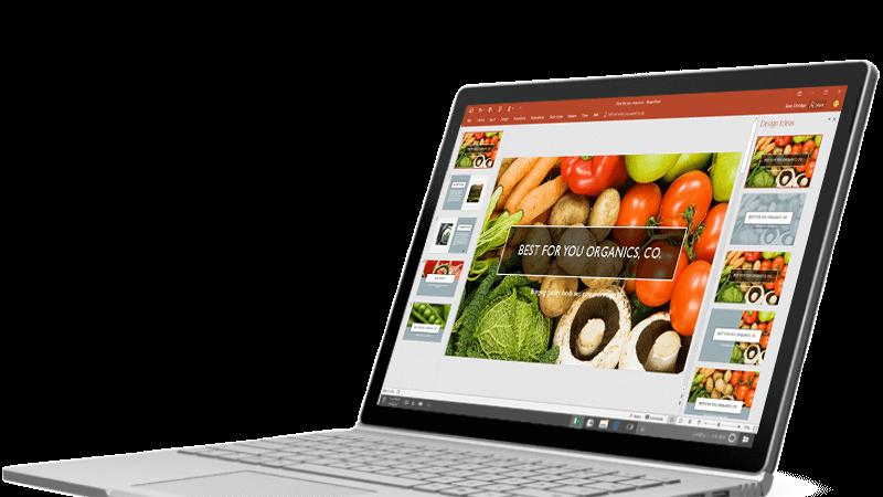 Designer enhances photos on slide with a single click.