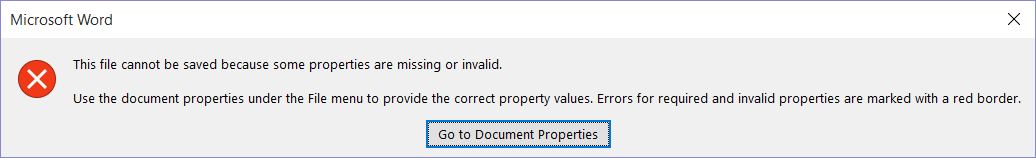 Dialog box indicating the file can't be saved.