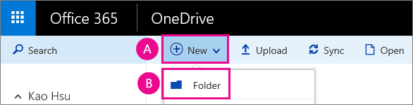 Create a new folder in OneDrive for business.