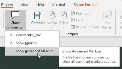 Select Show Advanced Markup