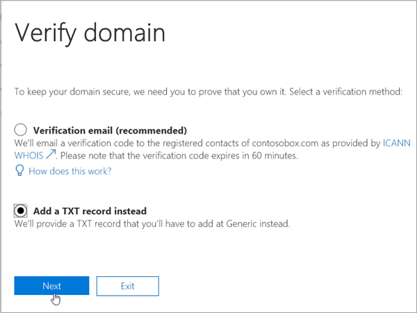 Domainnameshop Select Add TXT Instead in Office 365_C3_2017627999