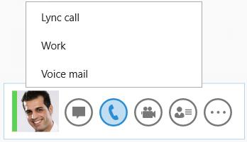 Screen shot of  options for making calls