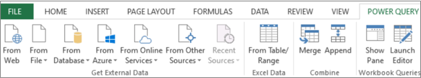 Excel 2013 Power Query Ribbon