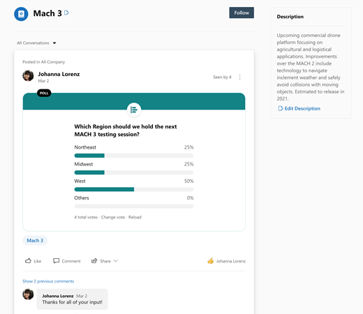 Screenshot showing topic page in Yammer