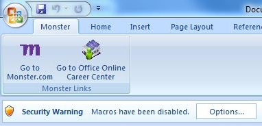 security warning: macros have been disabled