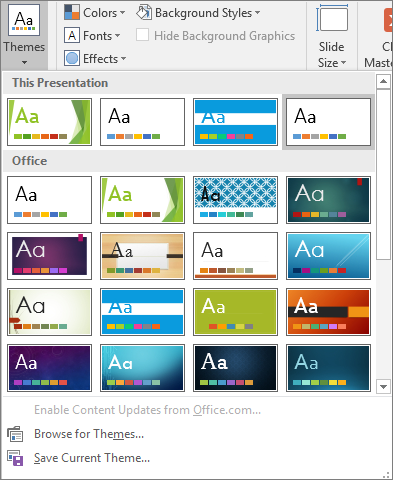 Shows Slide Master Themes options in PowerPoint