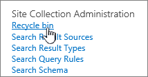 Settings under Site Collection admin heading with Recycle highlighted