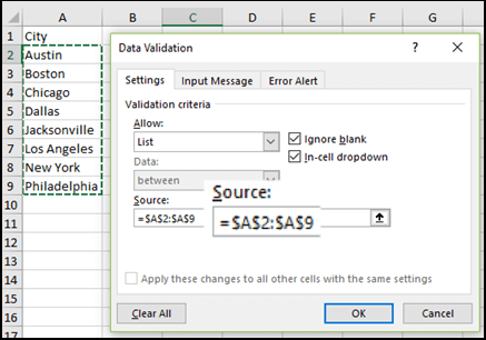 Drop-Down list Source is a range