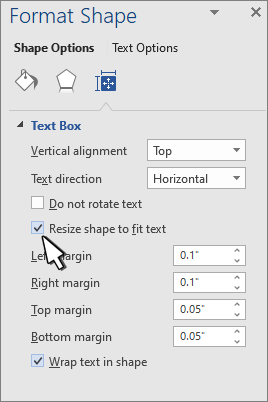 Format Shape with Resize shape for Text selected