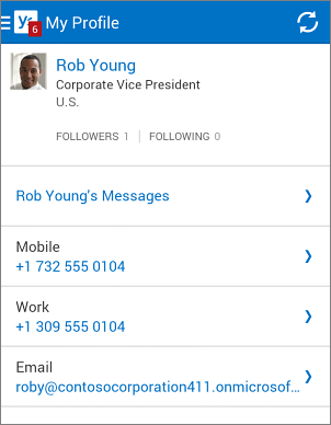 Profile page in Yammer app