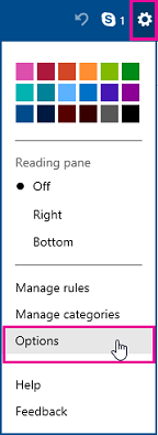 Options menu in pre-upgrade Outlook.com