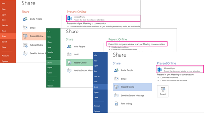 Share page in Word, Excel and PowerPoint with Skype for Business highlighted