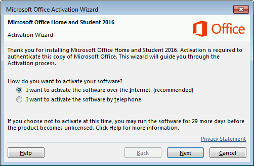 Activation is mostly automated from www.office.com/setup or www.office.com/myaccount
