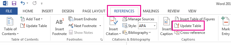 The Update Table command is on the References tab.