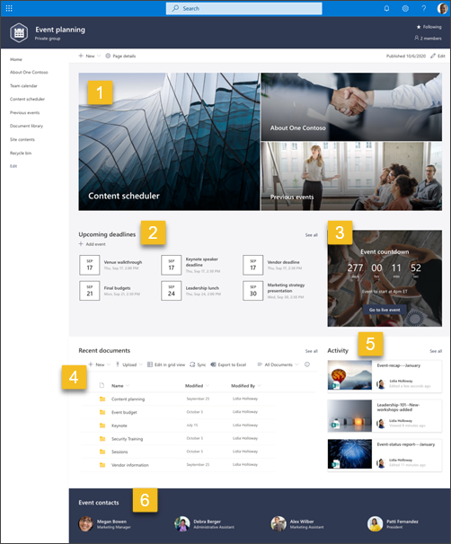 Screenshot of Event planning SharePoint site template with numbers