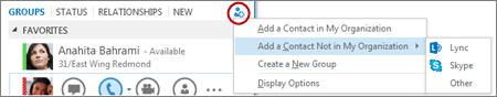 Add an external contact in Lync