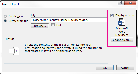 "The Insert Object dialog box with the check box for ""Display as icon"" selected"
