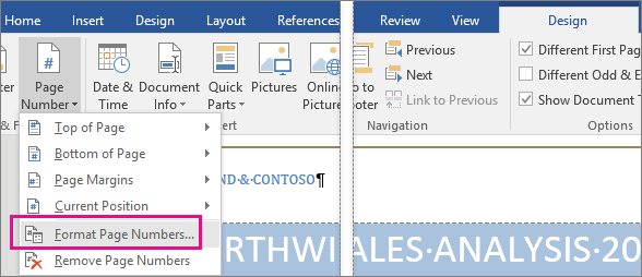 how to get page numbers and a header in word