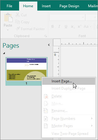 Insert Page on the Pages navigation pane in Publisher.