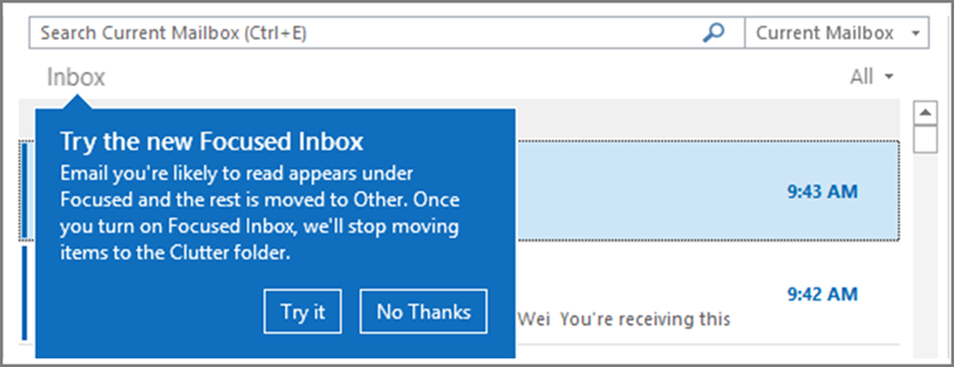 An image of what Focused Inbox looks like when it's rolled out to your users and Outlook is re-opened.