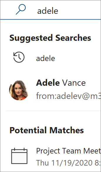 Using search in Outlook to find contacts
