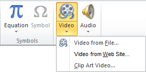 The button on the ribbon for inserting an online video in PowerPoint 2010