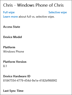 Device details with full and selective wipe options