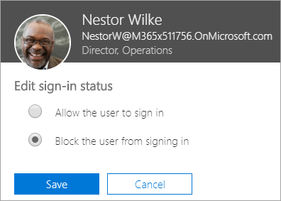 Screenshot of the Sign-in status dialog box in Office 365