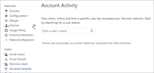 Screenshot of the Account Activity for a user showing no active Yammer sessions (logged out)