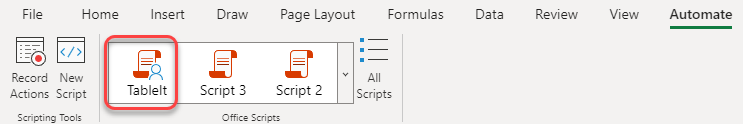 Office Script gallery with a shared script
